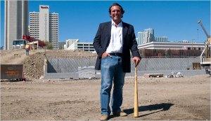 Stuart Katzoff, the developer of Reno's new baseball stadium, poses near home plate. The park will open in April 2009.